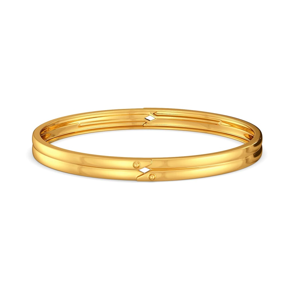 Double Rubble Gold Bangles