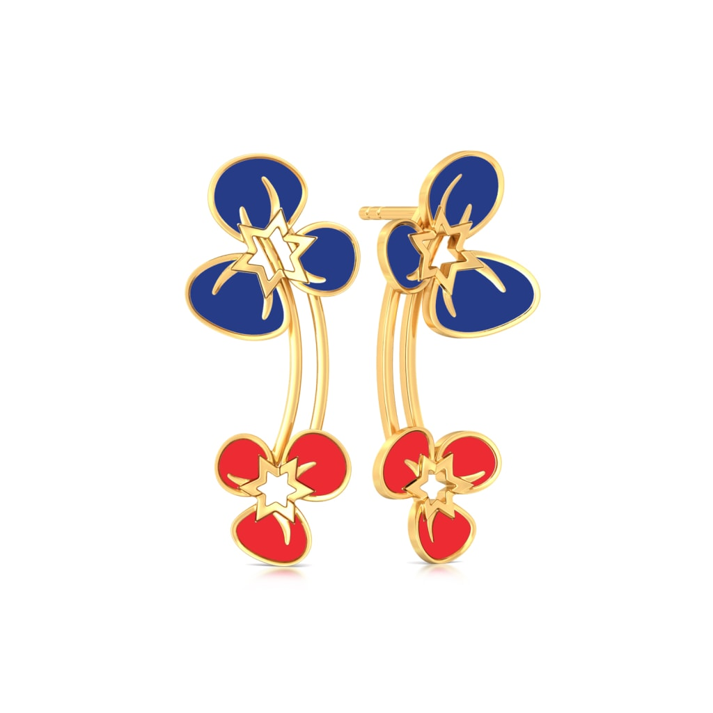 Flamboyant Florals Gold Earrings