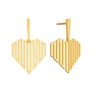 Dramatic Hearts Gold Earrings