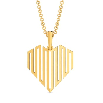 Dramatic Hearts Gold Pendants