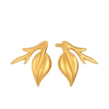 Rose Folioles  Gold Earrings