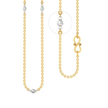 22kt Round Anchor Chain with Rhodium Plated Balls Gold Chains