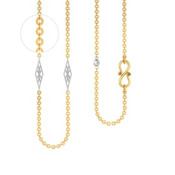 22kt Round Anchor with Rhodium Plated Geometric Beads Gold Chains