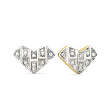 Heart Grids Diamond Earrings
