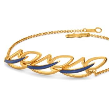 Blue Plumes Gold Bracelets