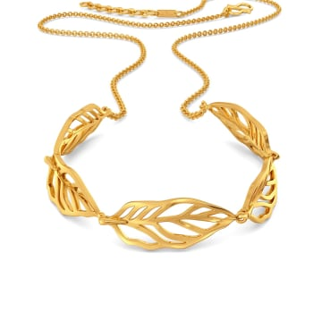 Groove in Feathers Gold Necklaces