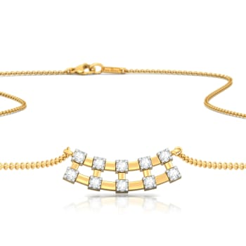 Checkered Bling Diamond Necklaces