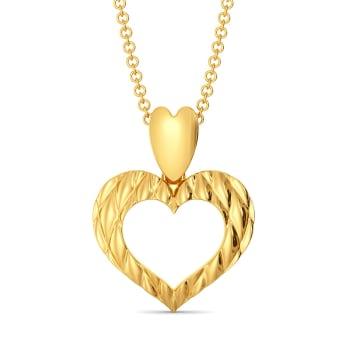 Heart Stripe Gold Pendants
