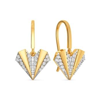 Pleated Hearts Diamond Earrings