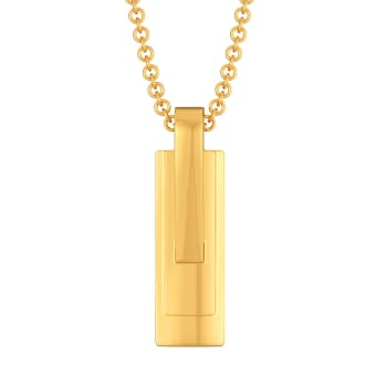Square Cut Gold Pendants