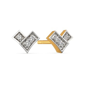 A Plaid Story Diamond Earrings