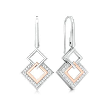 Square Interlock Diamond Earrings