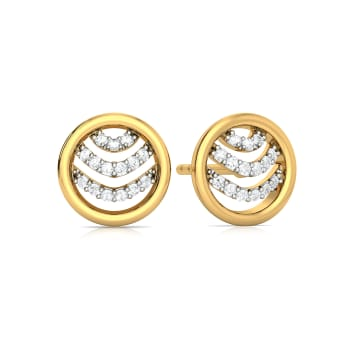 Ripple Round Diamond Earrings