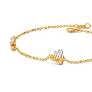 Hearts on Bow Diamond Bracelets
