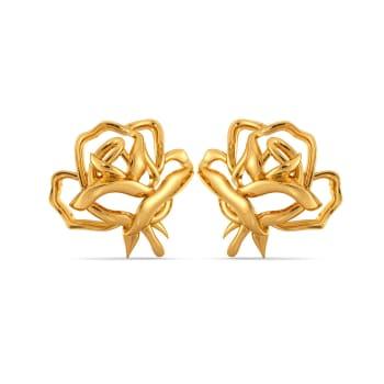Dark Blooms Gold Earrings