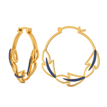 Blue Plumes Gold Earrings