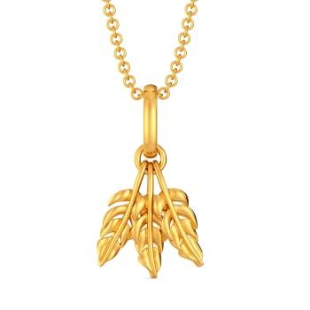 Festive Feathers Gold Pendants