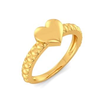 Heart Stripe Gold Rings