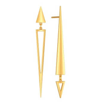 Lopsided Droops Gold Earrings