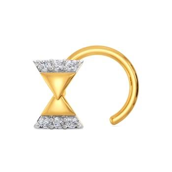 Ribbon Rhythm Diamond Nose Pins