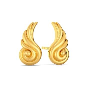 Winged Curls Gold Earrings