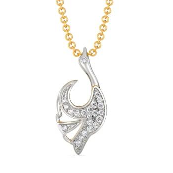 White Winged Diamond Pendants