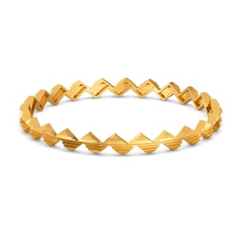 Triangle Ties Gold Bangles