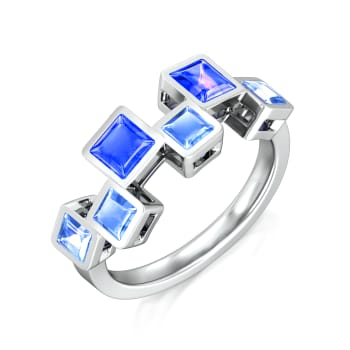 Meandering Blue Gemstone Rings