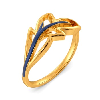Blue Plumes Gold Rings