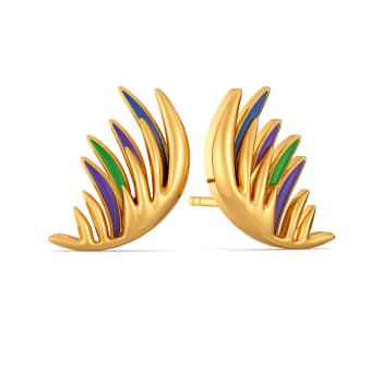 Playful Plumes Gold Earrings