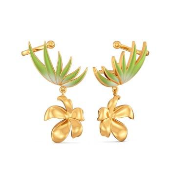 Fern Finesse Gold Earrings