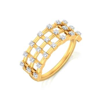 Checkered Bling Diamond Rings