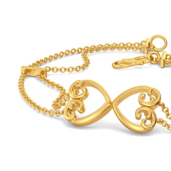 Scroll of Hearts Gold Bracelets
