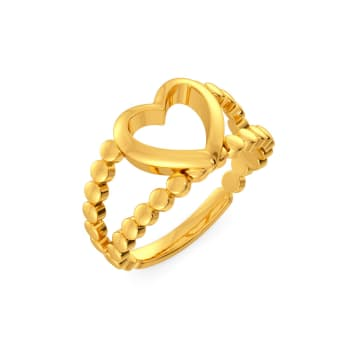 Dancing Hearts Gold Rings