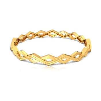 Zigzag Overlap Gold Bangles