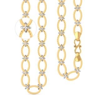 22k Two tone Oval X - Link chain  Gold Chains