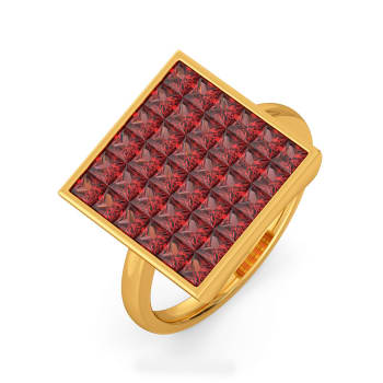Bright Block Gemstone Rings