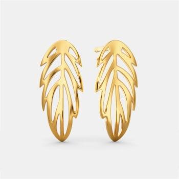 Feathery Fun Gold Earrings