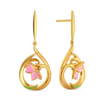 Plumeria Sunburst Gold Earrings