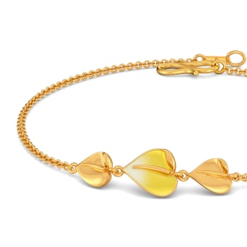 Yellow Anthuriums Gold Bracelets