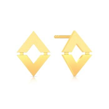 Triangular Tales Gold Earrings