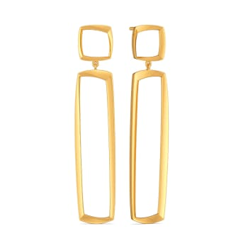 Square Flair Gold Earrings