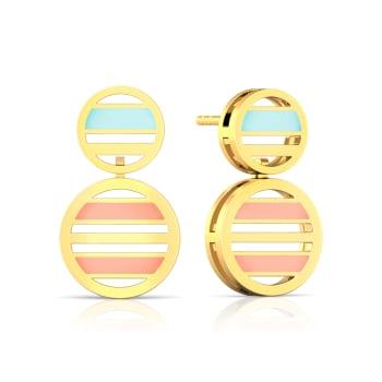 Striped Halo Gold Earrings