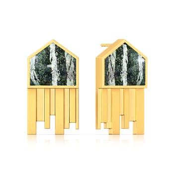 Pentagonal Stripes Gemstone Earrings
