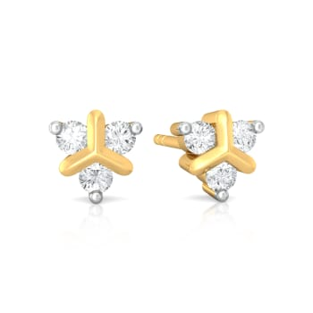 Teeny Troika Diamond Earrings