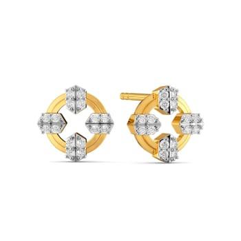 Tiered Pleats Diamond Earrings