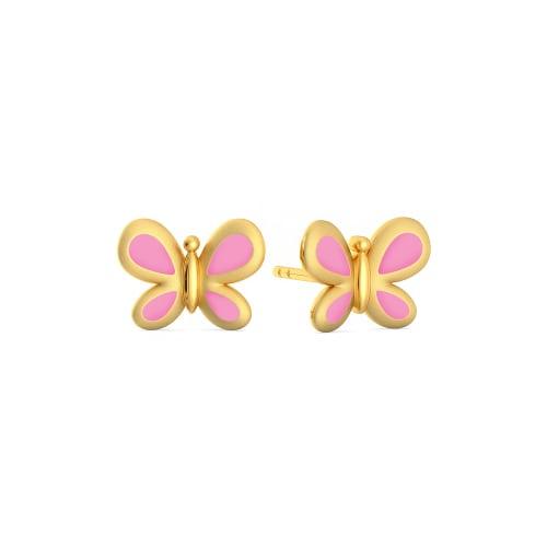 Pink Flutter  Gold Earrings