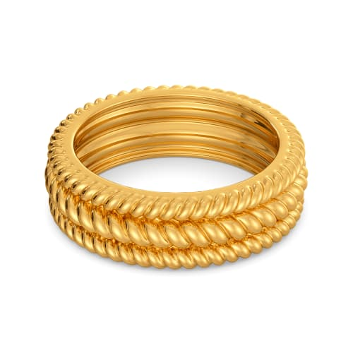 Quirky Twirls Gold Rings