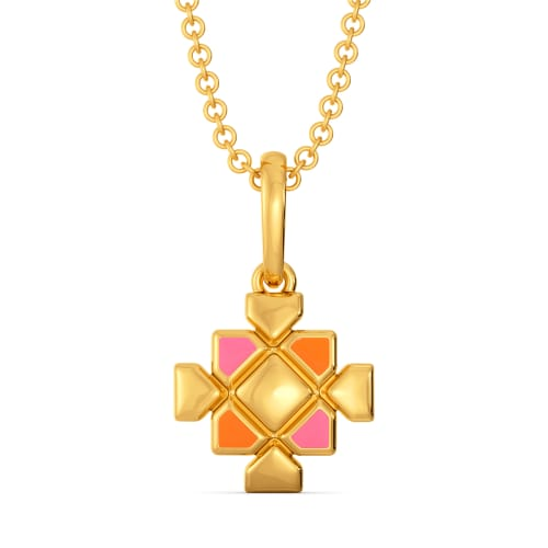 Pattern Positive Gold Pendants