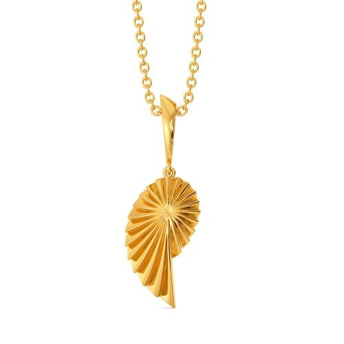 Fan of Pleats Gold Pendants